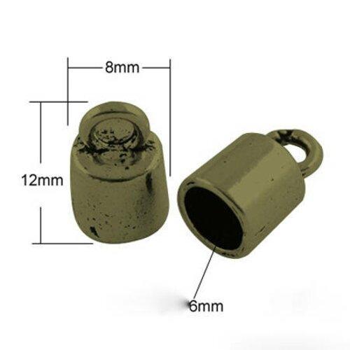 Calotte de métal métal bronze trou 6 mm,lot de 10 pcs