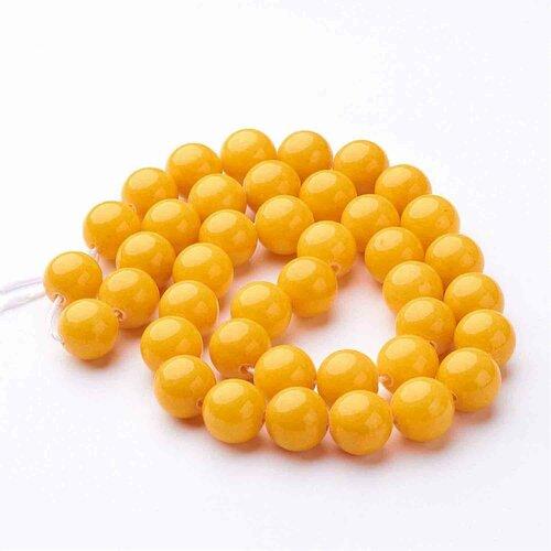 Perles de jade mashan ronde,teint verge d'or,10 mm,lot de 10