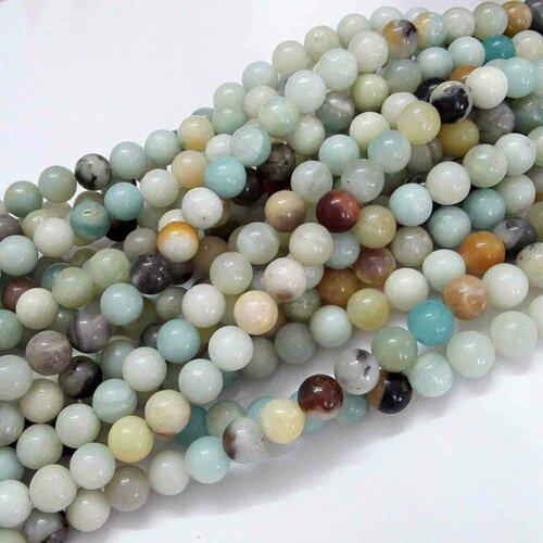 Perles amazonite naturelle,ronde,10 mm trou: 1 mm,lot de 10