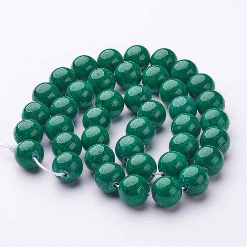 Perle jade mashan ronde,teint vert 10 mm,lot de 10 perles