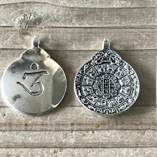 Pendentif symbole om aum yoga hindi omkara métal argent 4 cm