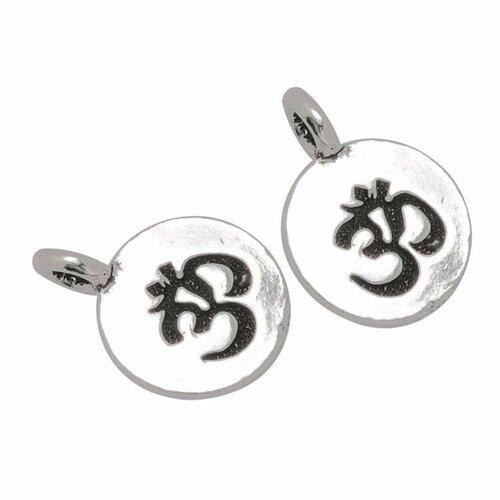 Breloque om mantra,méditation,yoga,métal argent,16 mm,lot de 2 pcs