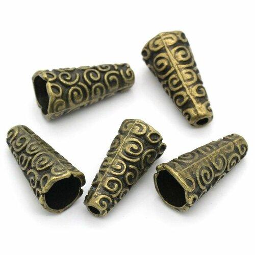Calotte perle en alliage de zinc cône,bronze antique 10 pcs