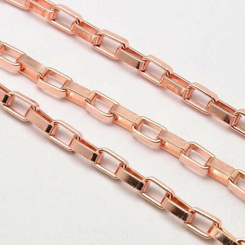 Chaine métal or rose,maille rectangulaire, 7x4.3x2 mm,vendu par 1m