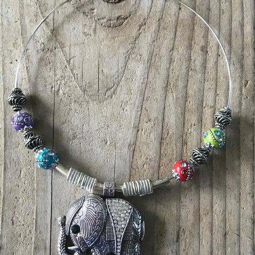 Kit collier ras de cou pendentif porte bonheur indien éléphant d'apparat