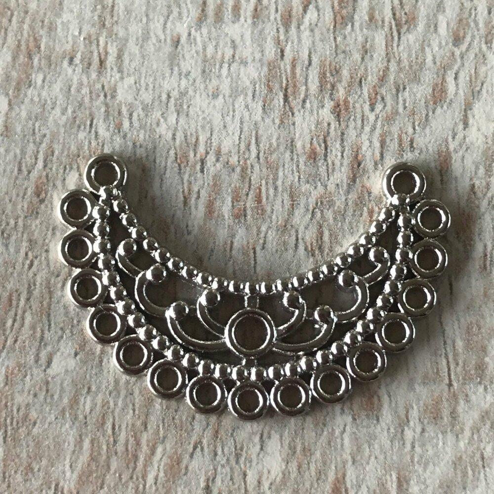 Breloque connecteur chandelier ouvragé métal argent,lot de 6