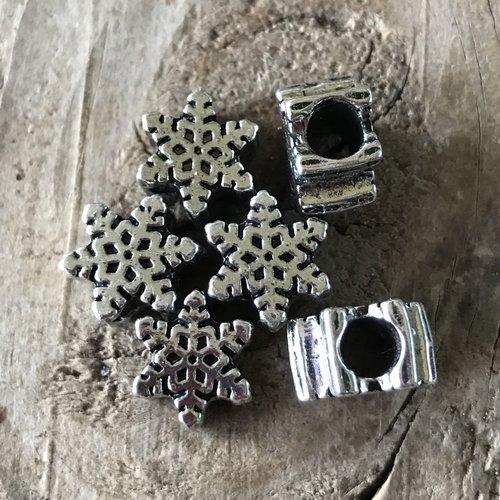 Perle européenne intercalaire étoile des neiges métal argent 10 mm trou 5 mm,lot de 6