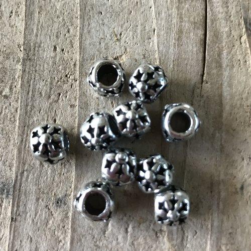 Perle européenne intercalaire métal argent 10 mm trou 5 mm,lot de 10