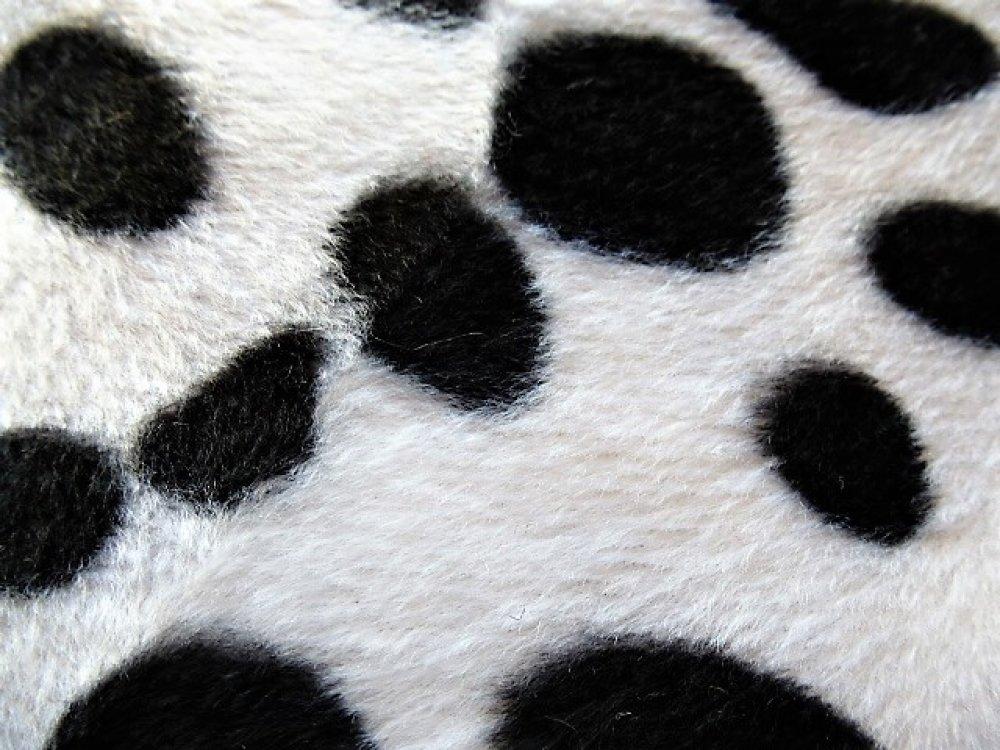 tissu fourrure motif dalmatien poils ras coupon 55 x 45 cm pour création petits objets et accessoire, parties de vêtements