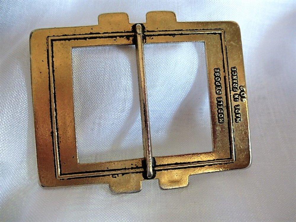 boucle de ceinture vintage années 70 en métal veil or 80 x 65 mm Made in France MER 173 pour création couture ceinture, fermeture de sac