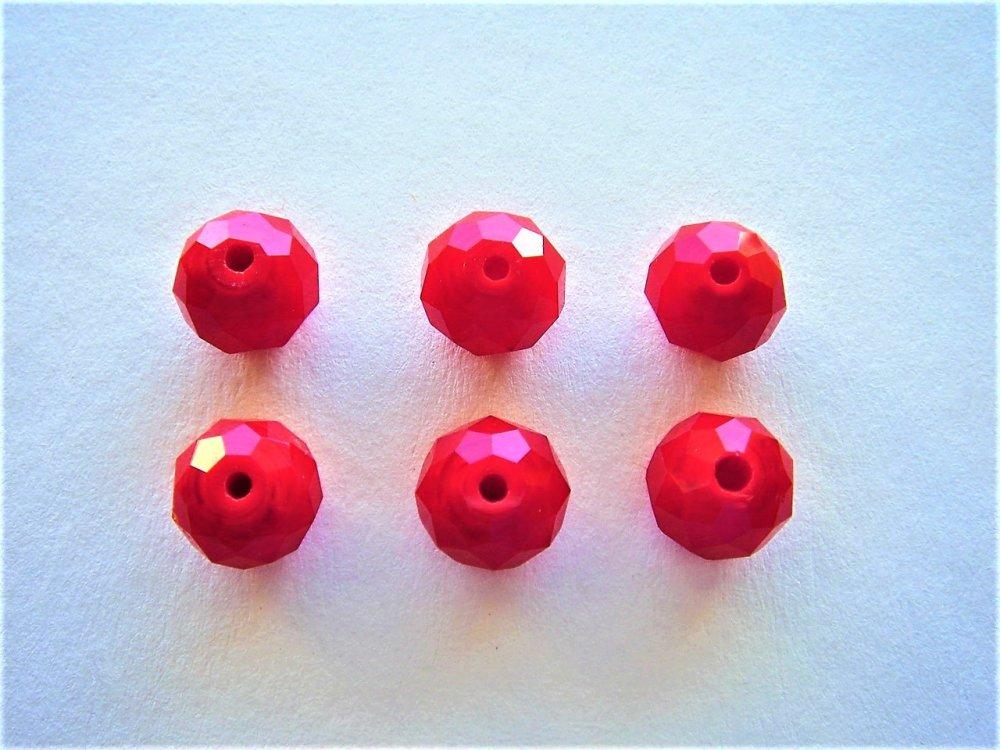 6 perles cristal rouge corail 10 x 8 mm pour créations bijoux, loisirs créatifs et artisanals, décoration, embellissement couture