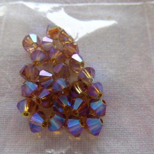 4 mm 25 Perles Cristal TOUPIES SWAROVSKI CUIVRE REFLETS