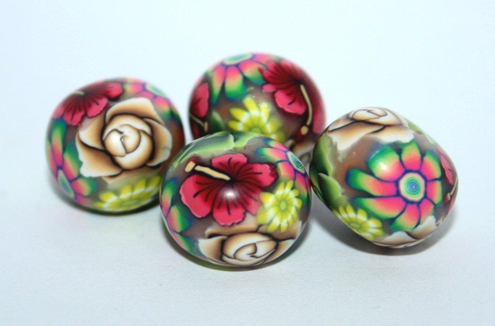 Perles polymère fleuries multicolores,  la paire