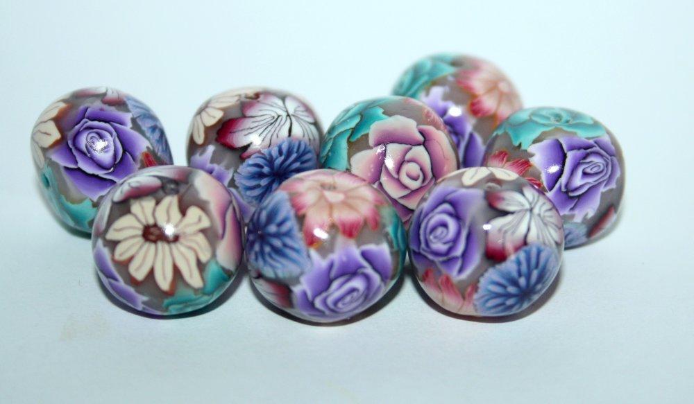 Perle polymère rondelle,  motif fleuri rose bleu pourpre, à l'unité.