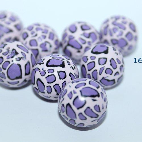 Perle polymère motif léopard parme violet, ronde 16mm / a l'unité.