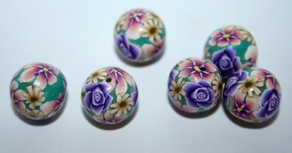 Paire / Perles rondes de 13mm en polymère Violet Rose Turquoise