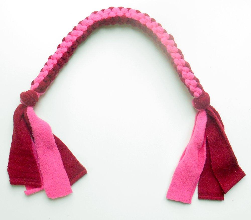 Tug jouet pour chien corde en polaire bordeaux et rose
