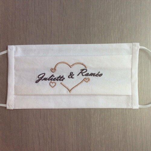 Masque en tissu brodé, personnalisé pour mariage