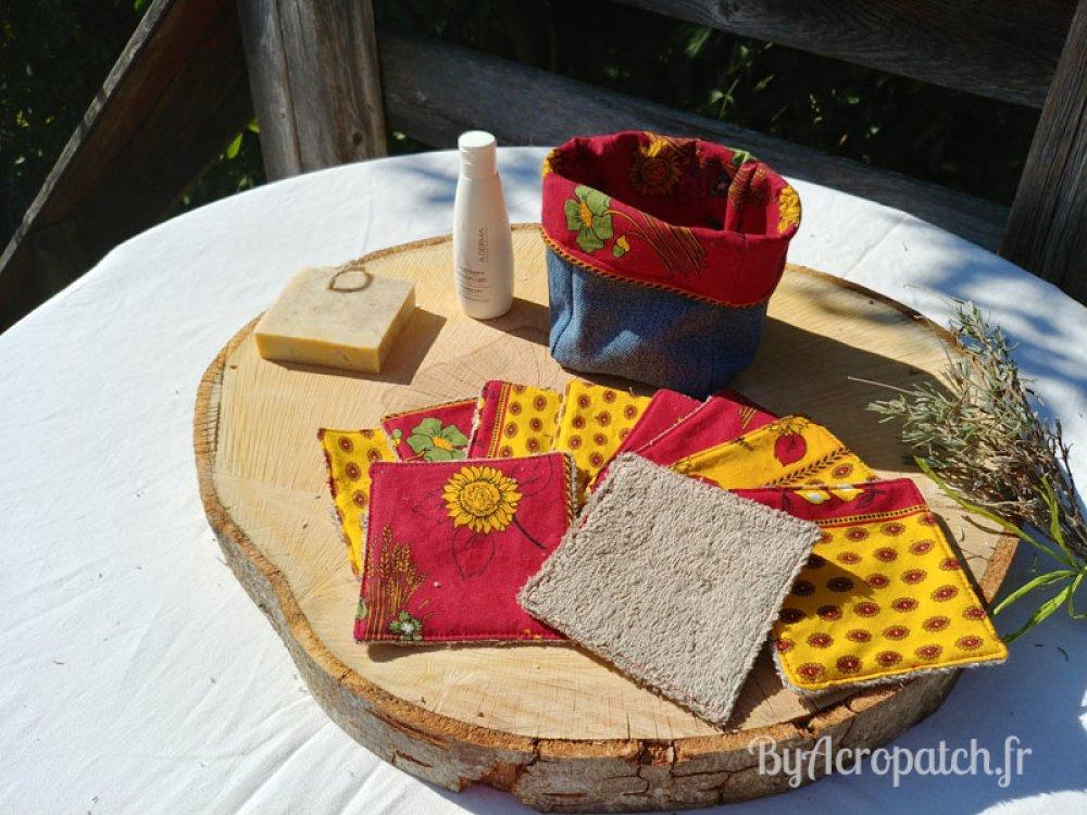 10 lingettes lavables + 1 pochon, tissu provençal (PL110)