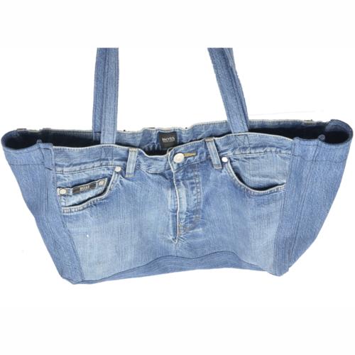Cabas en jean avec un intérieur modulable, grand sac en jean à intérieur personnalisable
