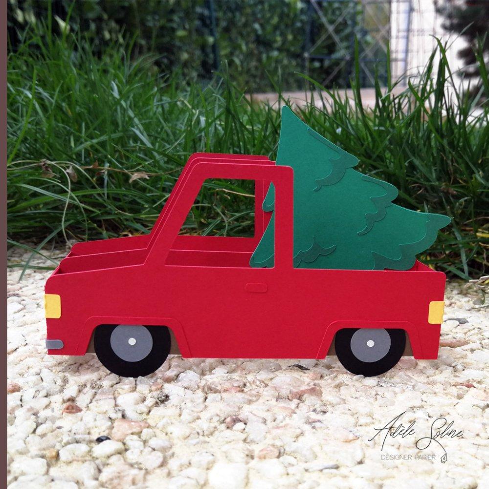 """Décoration """"La camionnette ramène le sapin de Noël"""" - Fichier de découpe 3D"""