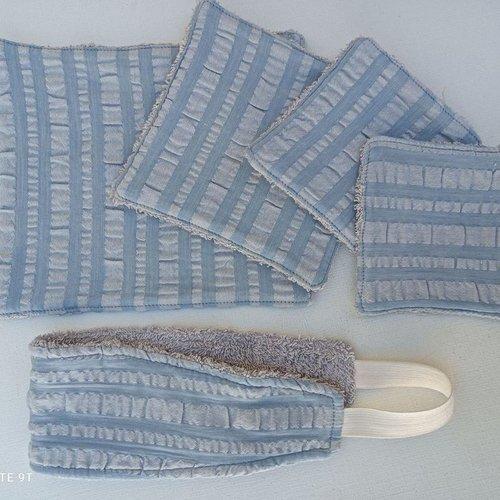 Coffret beauté pour femme tissu gaufré rayé gris/bleu et éponge gris clair