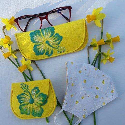 Trio du printemps, masque de protection, étui à lunettes, porte monnaie