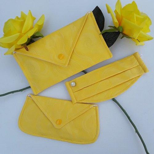 Trio jaune 1 masque de protection + pochette de rangement+ pochette maquillage, lunettes