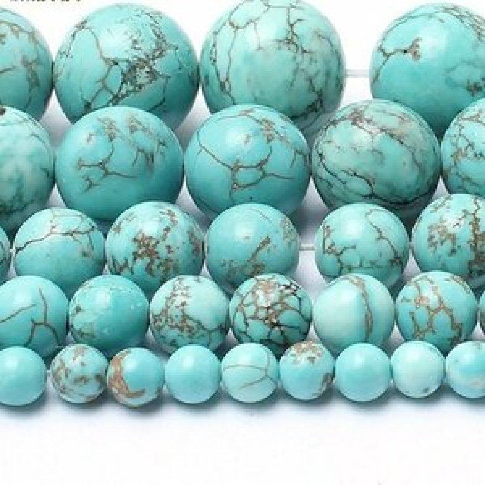 Lot de 10 perles de turquoise rondes en pierre naturelle 6 mm.