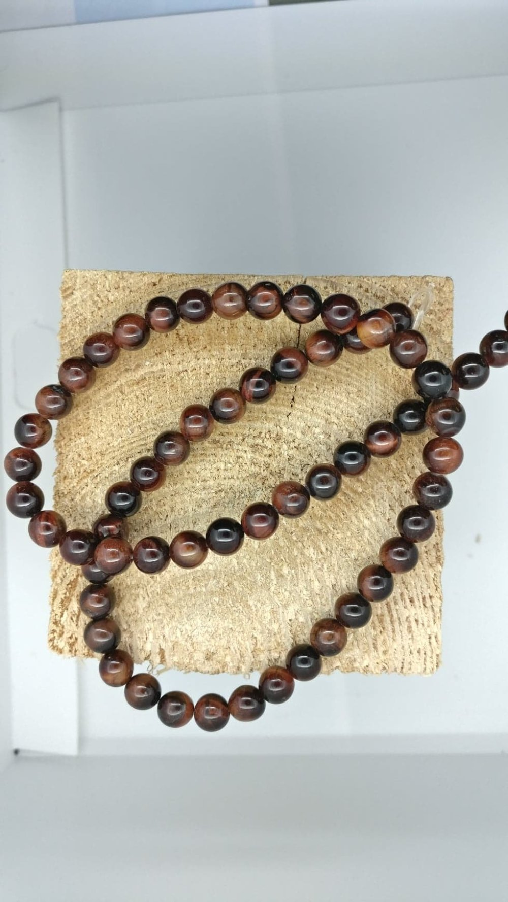 Lot de 10 perles d'oeil de tigre rouge rondes en pierre naturelle 4 mm.