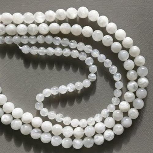 Lot de 10 perles de pierre de lune aaa rondes en pierre naturelle 8 mm.