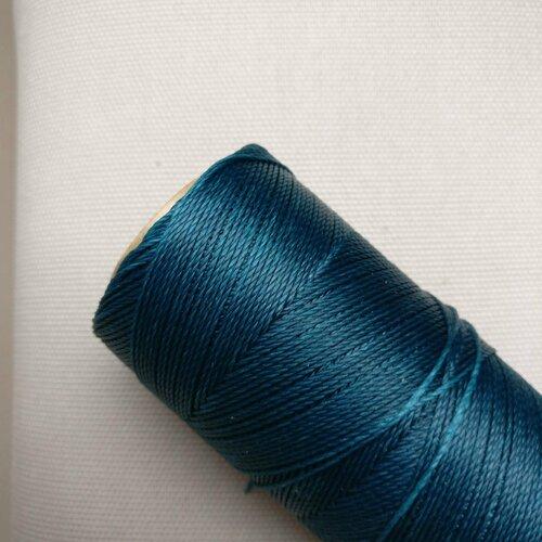 10 mètres fil macramé ciré linhasita - polyester 0,8 mm d'épaisseur.  pour macramé, bijoux. teal réf 228