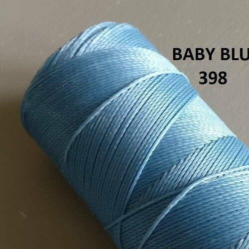10 mètres fil macramé ciré linhasita  - polyester 0,8 mm d'épaisseur.  pour macramé, bijoux. baby blue réf 398