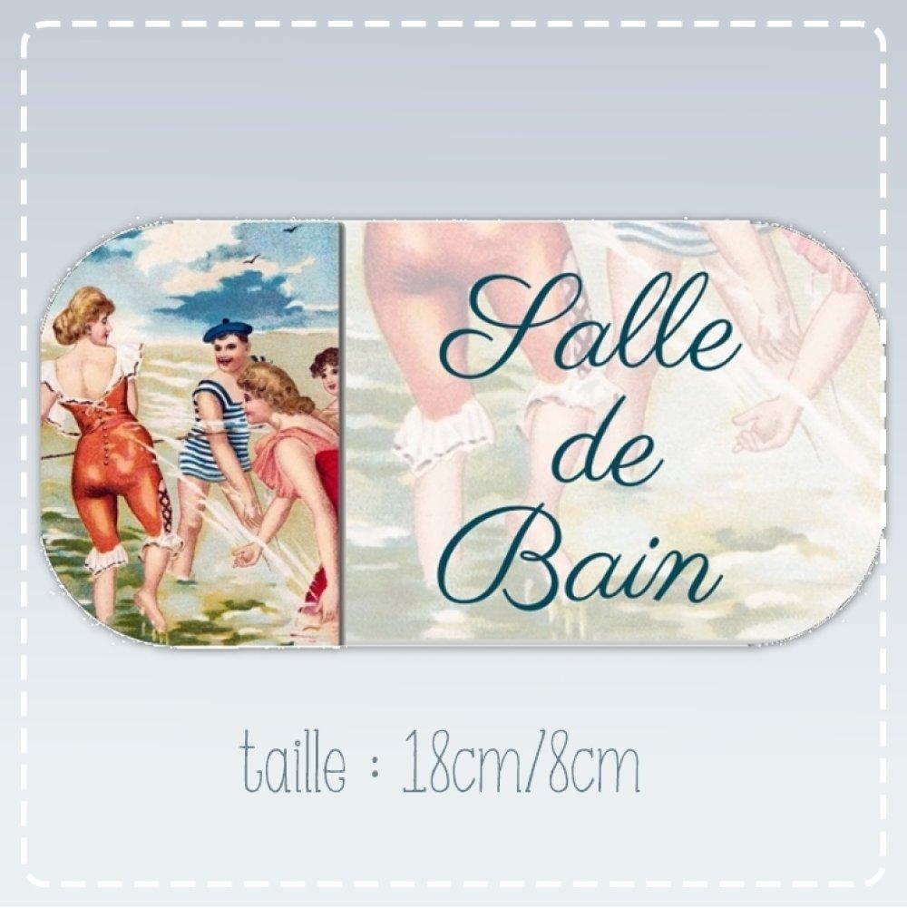 "plaque de porte ""salle de bain"" (18cm/8cm)"