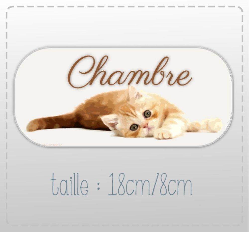"""plaque de porte """"chambre""""  chaton(18cm/8cm)"""