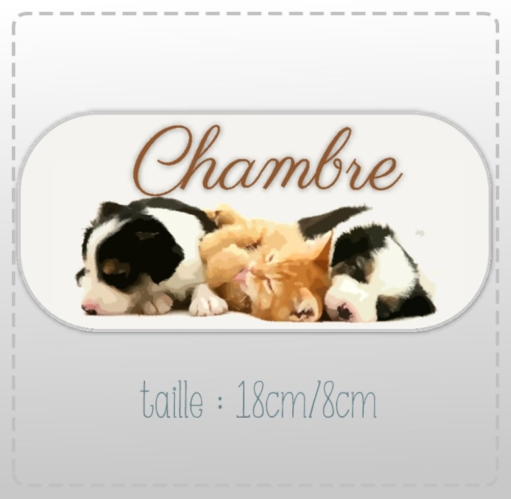 """plaque de porte """"chambre""""   petits chiens(18cm/8cm)"""