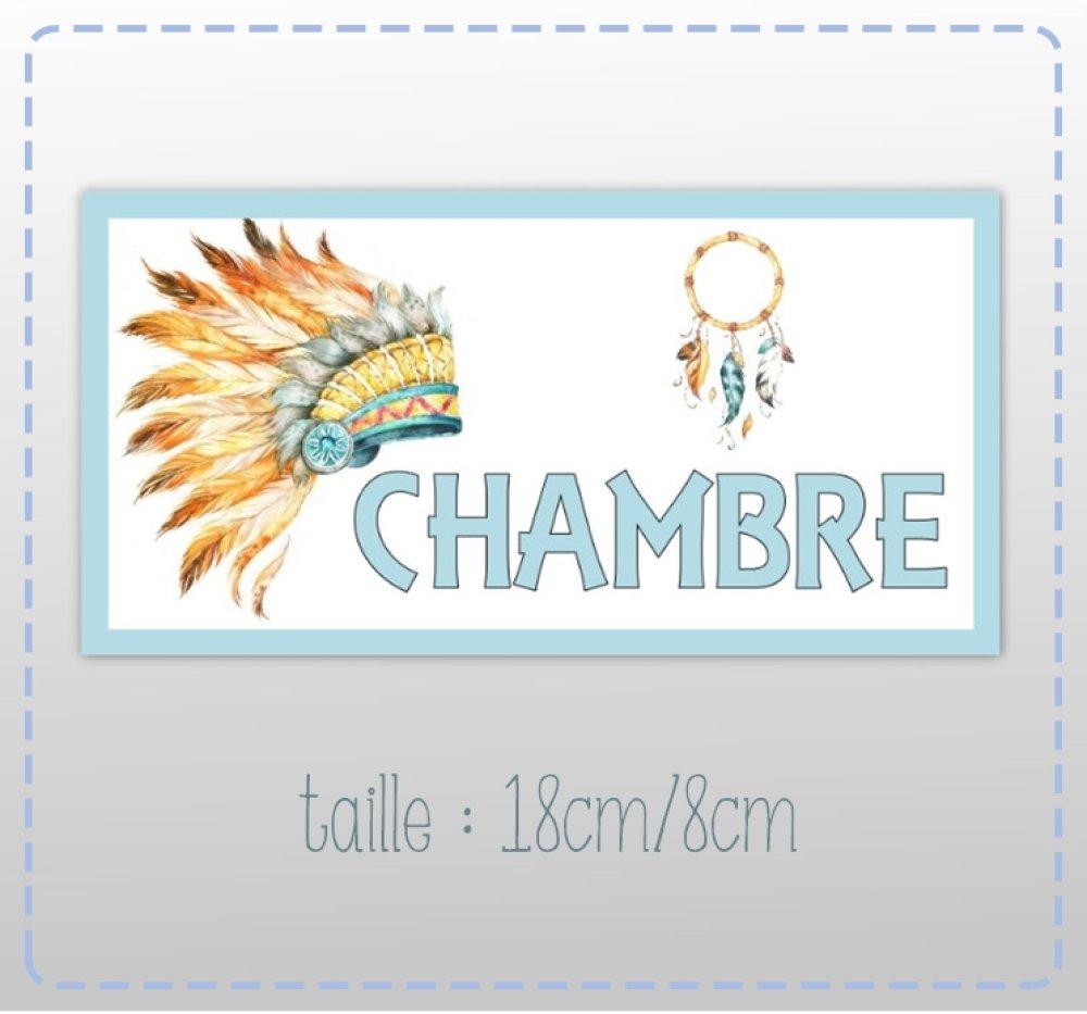 """plaque de porte """"chambre""""   thème indien ,tribal (18cm/8cm)"""