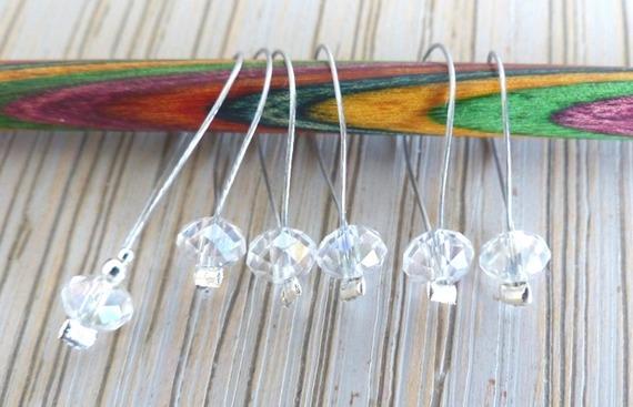 anneaux marqueurs- Lot de 6 marqueurs de mailles Perles Swarovski *collection Cristal* 3