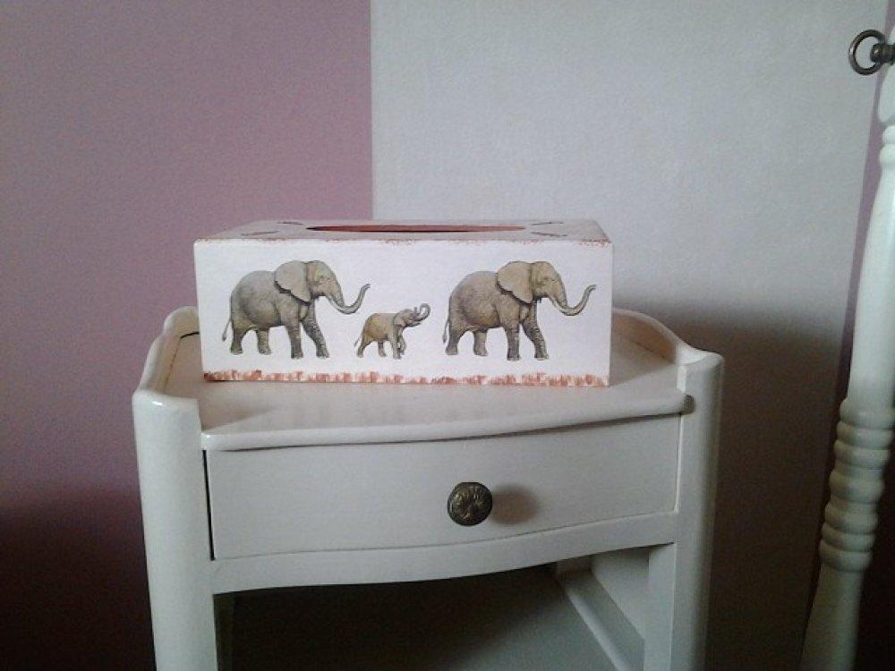 Boite à mouchoirs éléphants