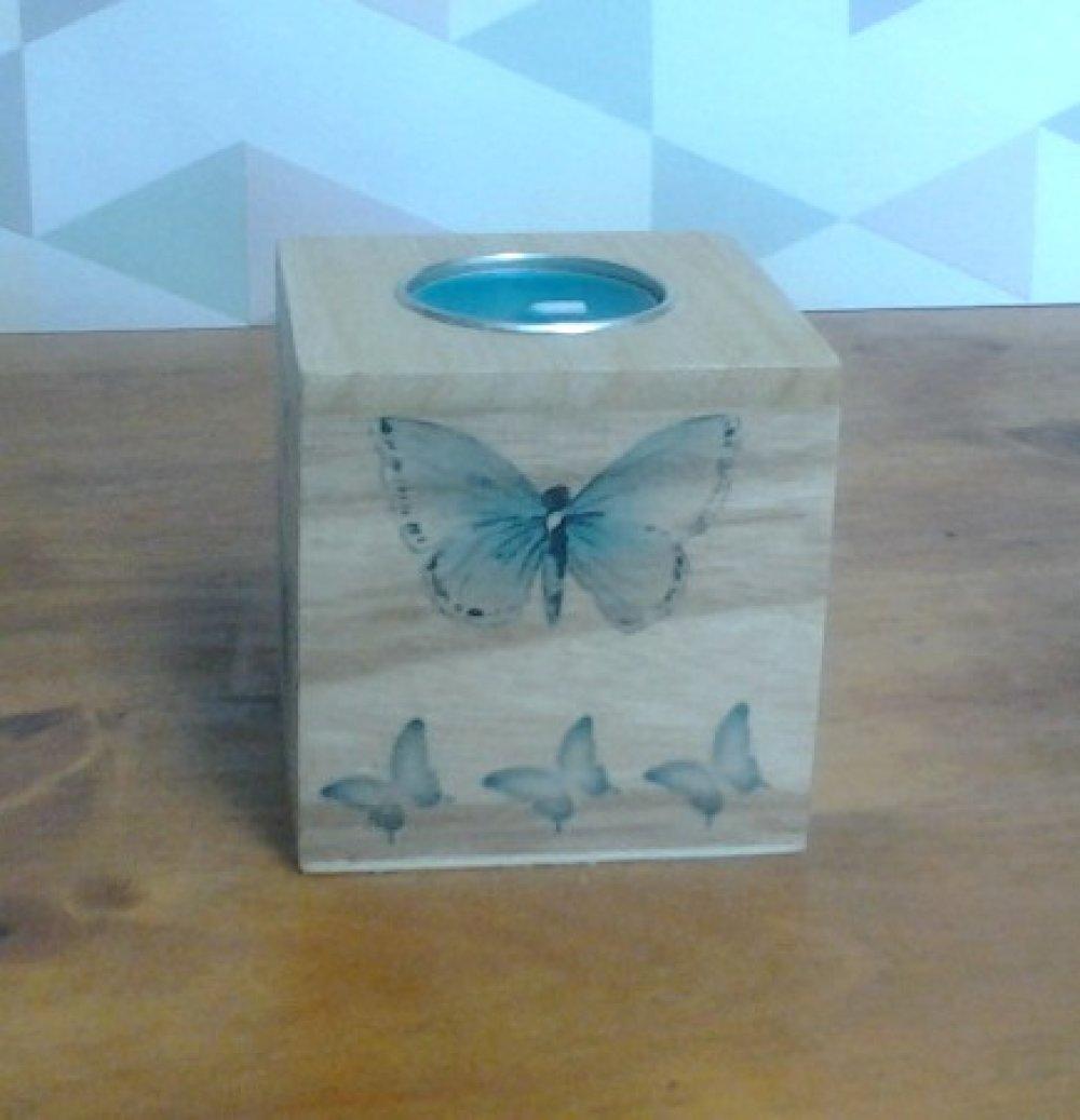 Bougeoir cube motif papillon turquoise et message