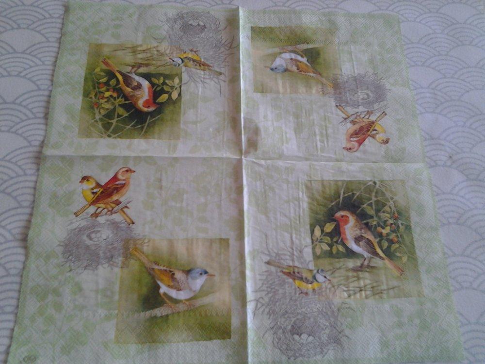 Lot de 2 serviettes en papier Oiseaux et leurs nids