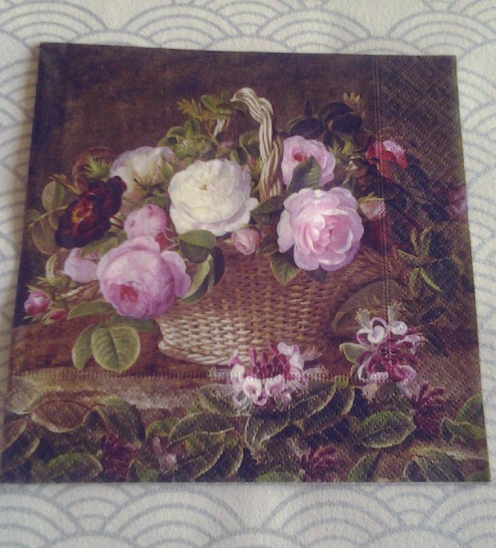 Lot de 2 serviettes en papier Panier de fleurs