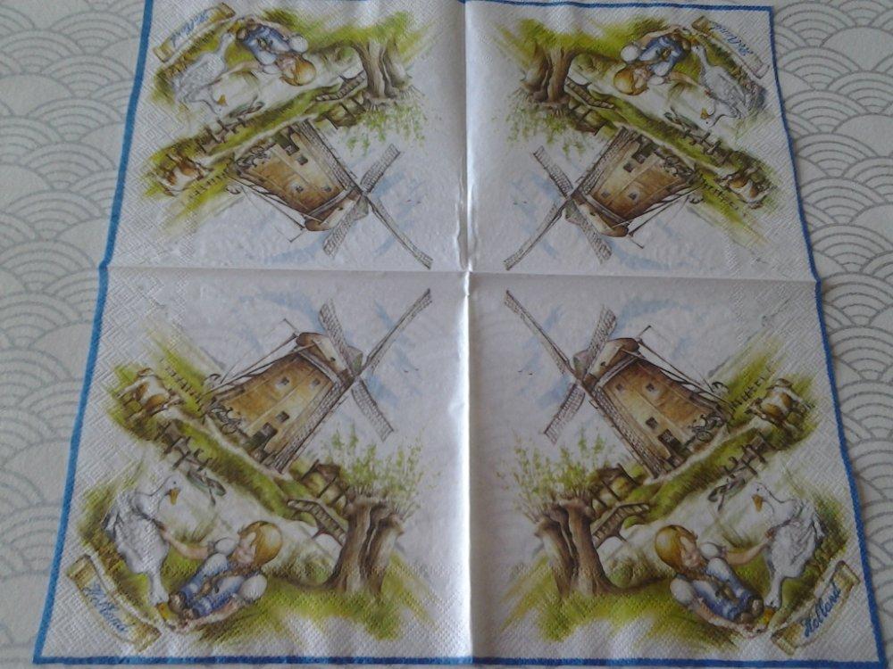 Lot de 2 serviettes en papier Petite fille au moulin