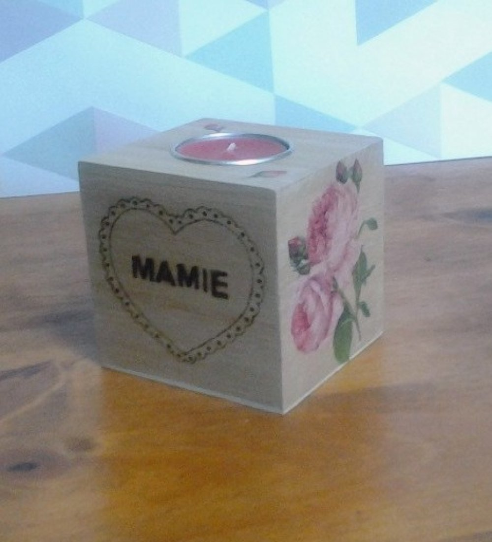 Bougeoir cube motif rose et message