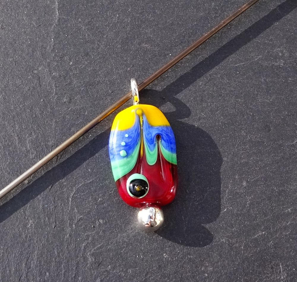 Pendentif perle d'art en verre filé CL.0987