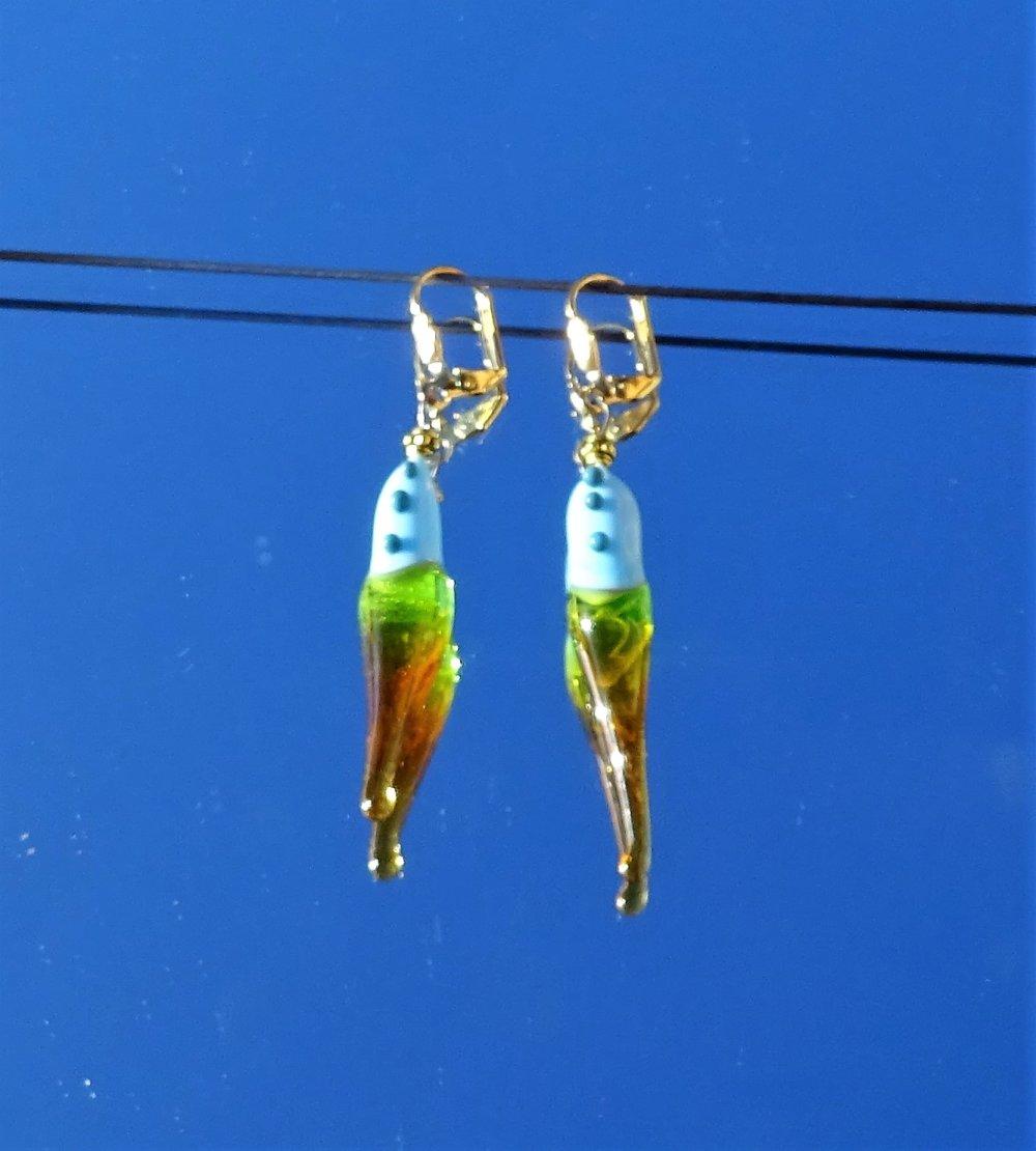 Boucles d'oreille, perles au chalumeau, Murano BCL.2892