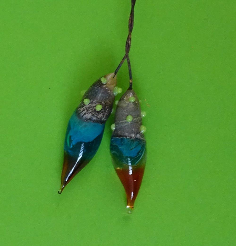 headpins verre filé, lampwork, verre de Murano, PERL.3646