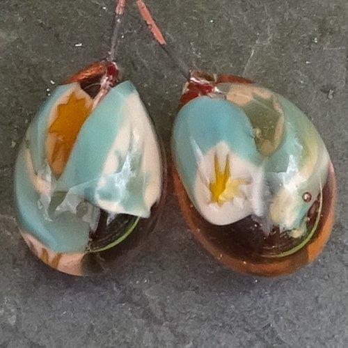Headpins verre filé, lampwork, verre de murano, perl.4274