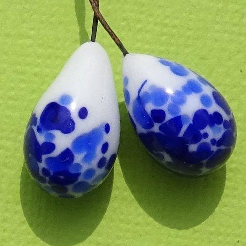Headpins verre filé, lampwork, verre de murano, perl.4275