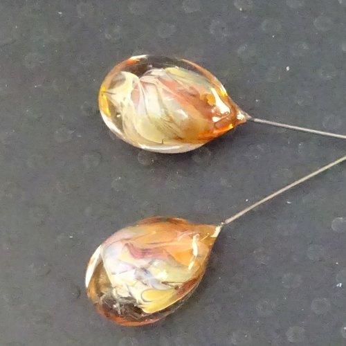 Headpins verre filé, lampwork, verre de murano, perl.4176